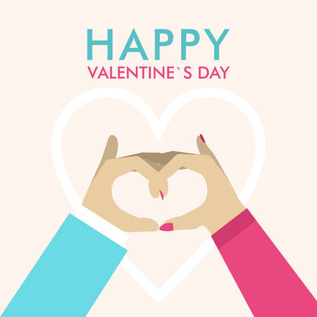 Vector St. Valentines day greeting card in flat style. Male and female hands showing heart gesture
