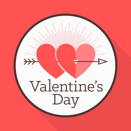 pierced: Vector St. Valentines day greeting card in flat style. A heart symbol pierced with an arrow Illustration