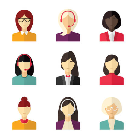 young business man: Vector flat icon set. Different people character, female, girl, business woman, technical support