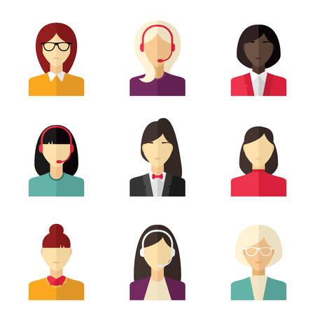 apoyo social: Vector icono plana conjunto. Car�cter diferente gente, femenino, chica, mujer de negocios, asistencia t�cnica
