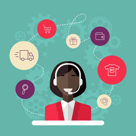 technical assistant: Technical support banners set assistant woman with icons flat design vector illustration Illustration