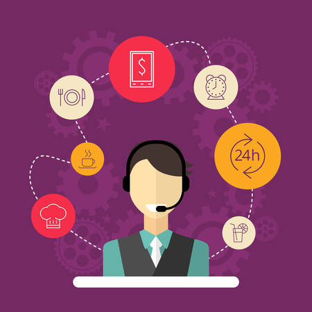 technical assistant: Technical support banners set assistant man with icons flat design vector illustration Illustration