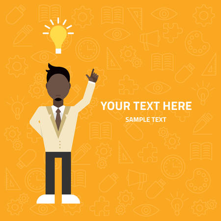 Flat vector illustration. Young businessman pointing up. Creative idea concept Vector