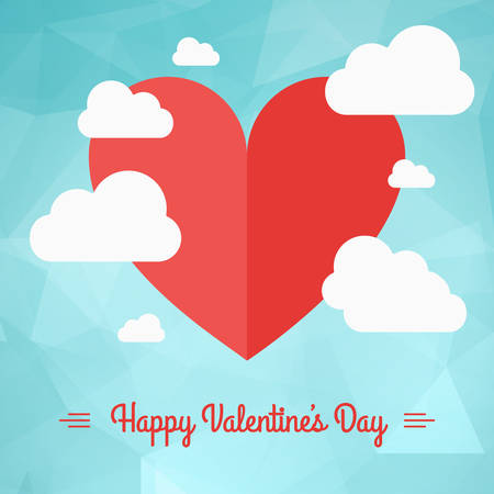 Vector St. Valentines day greeting card in flat style. A heart symbol in the sky with clouds