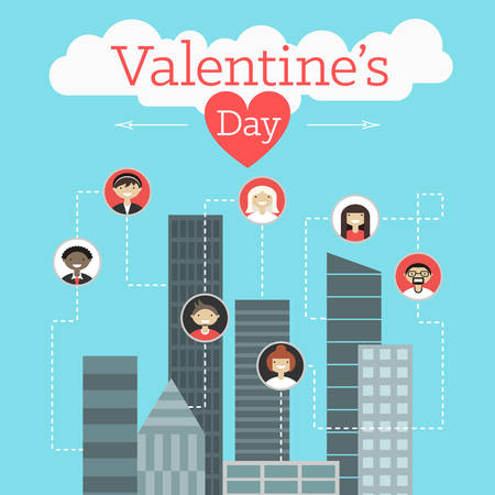 modern buildings: Vector St. Valentines day greeting card in flat style. Communication concept. Modern buildings and men and women icons Illustration