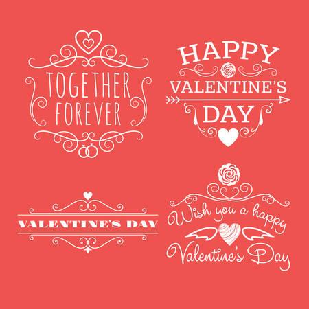 Valentines day set of label, badges, stamp and design elements. White on red background Illustration