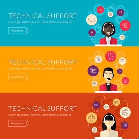 services: Flat design concept for technical support. Vector illustration for web banners and promotional materials Illustration