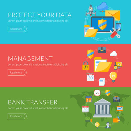 bank overschrijving: Flat design concept for internet security, management, bank transfer. Vector illustration for web banners and promotional materials
