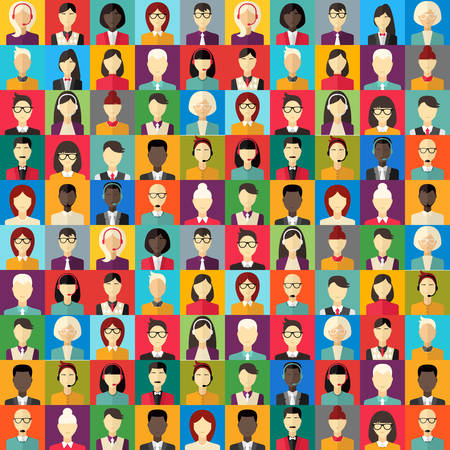 Flat design abstract vector background. Different people character, female, businessman, technical support