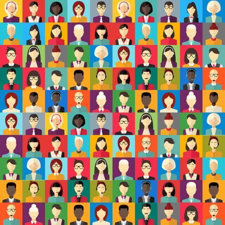 Platte ontwerp abstracte vector achtergrond. Verschillende mensen karakter, vrouw, zakenman, technische ondersteuning Stock Illustratie