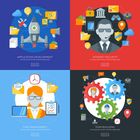 building security: Flat design concept for application development, internet security, time management, team building. Vector illustration for web banners and promotional materials