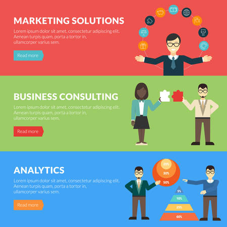 proposition: Flat design concept for marketing solutions, business consulting, analytics. Vector illustration for web banners and promotional materials