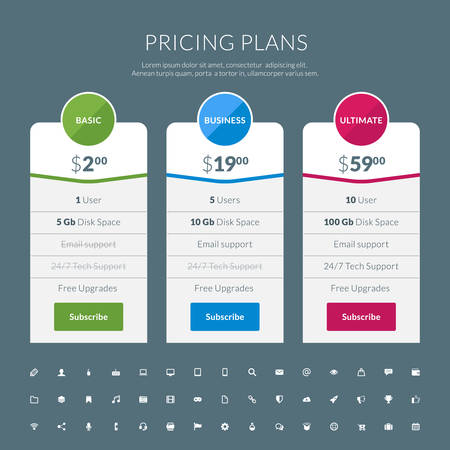price list: pricing table in flat design style for websites and applications