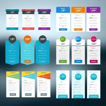 Set van prijstabel in flat design stijl voor websites en applicaties Stock Illustratie
