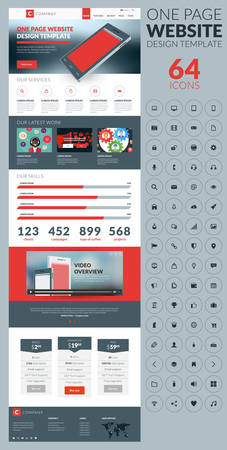 website: One page website template in flat style with icon set Illustration