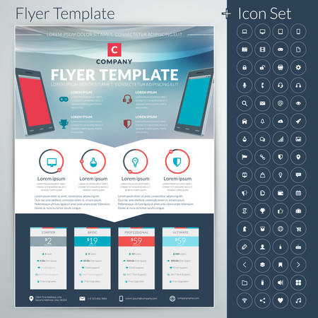 product design: abstract business flyer or poster template with icon set Illustration
