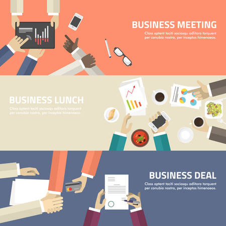 almuerzo: Concepto de dise�o plano para reuniones de negocios, almuerzos trato.