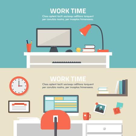 modern home: Flat design illustration concept of modern home or business work space