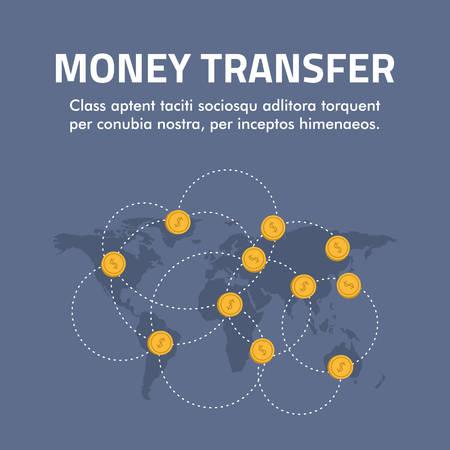 Flat design concept for money transfer.
