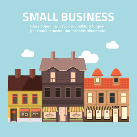 houses street: Flat design illustration of small business concept. Illustration