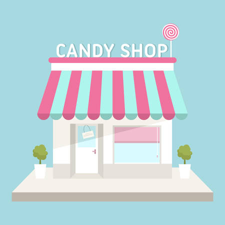 awnings windows: Flat design vector illustration of small business concept. House with shop