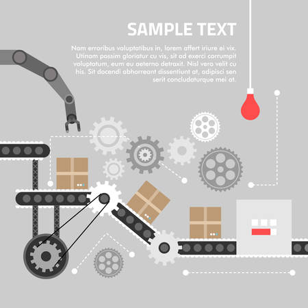 process: Flat design concept for technlology process. Vector illustration for web banners and promotional materials