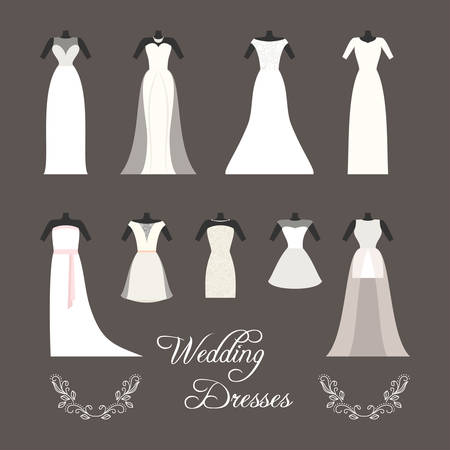 Set of wedding dresses isolated vector illustration Vector