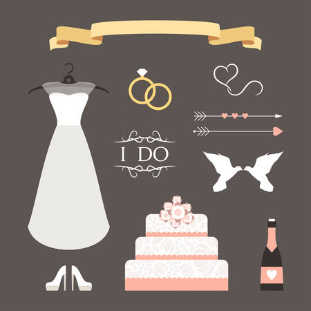 Vintage set of vector wedding illustrations and decorative elements