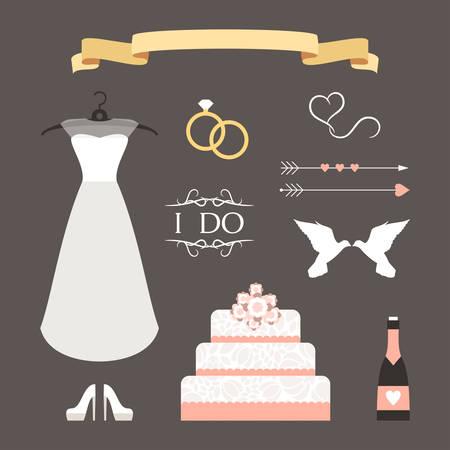 Vintage set van vector bruiloft illustraties en decoratieve elementen