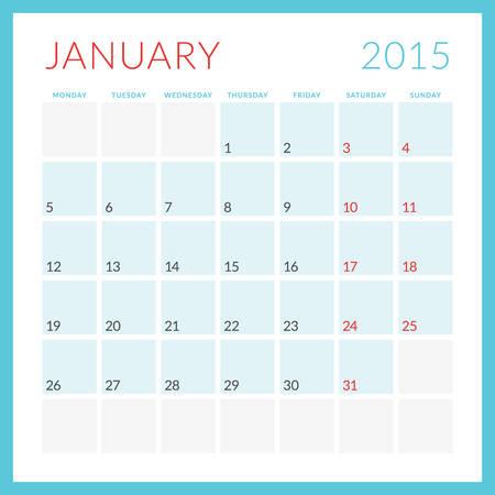 Calendar 2015 vector flat design template. January. Week starts Monday Illustration