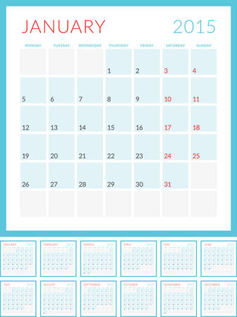 Calendar 2015 vector flat design template. Set of 12 months. Week starts Monday Illustration
