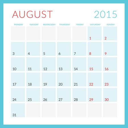 Calendar 2015 vector flat design template. August. Week starts Monday