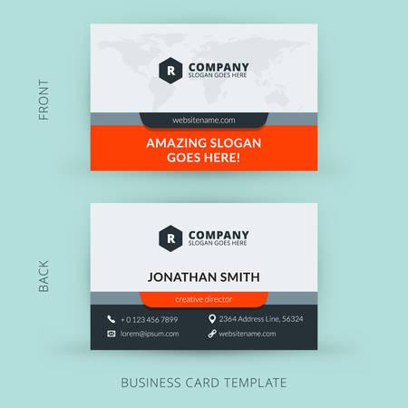 entreprises: Vecteur modèle de création moderne et propre carte de visite. Design plat Illustration