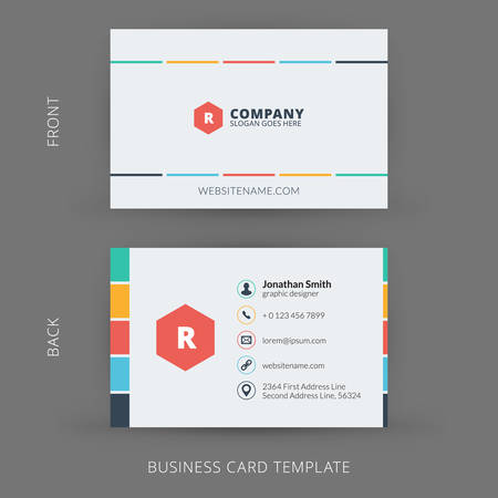 business card layout: Vector modern creative and clean business card template. Flat design