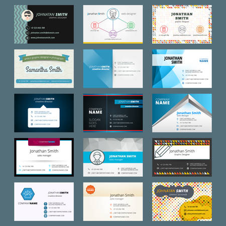 contact icon set: Vector set of modern creative business cards