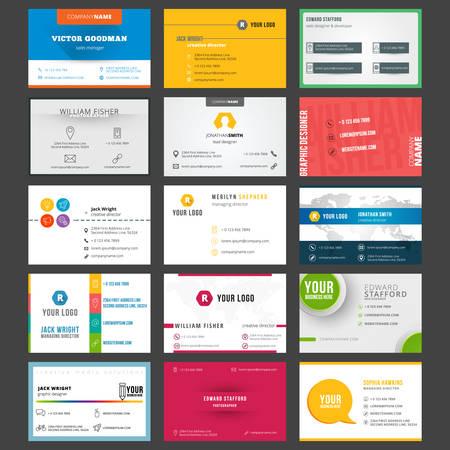 entreprises: Vector set of modernes cartes de visite créatives
