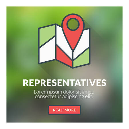 geotag: Flat design concept for representatives. Vector illustration with blurred background