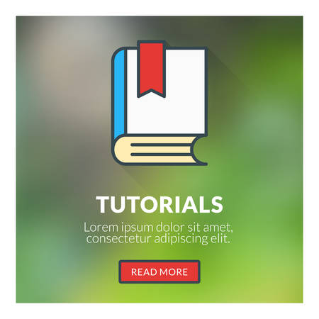 tutorials: Flat design concept for tutorials. Vector illustration with blurred background