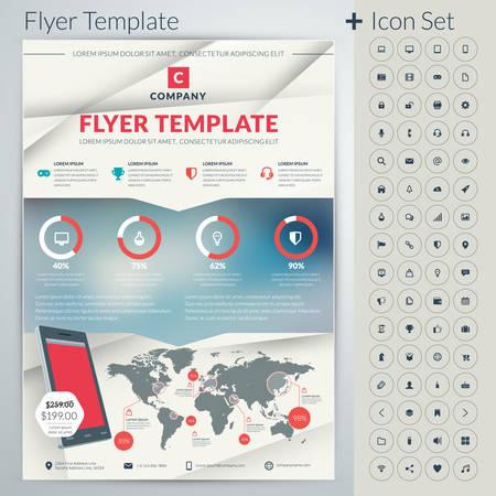 Vector abstract entreprise prospectus ou modèle d'affiche avec l'icône ensemble