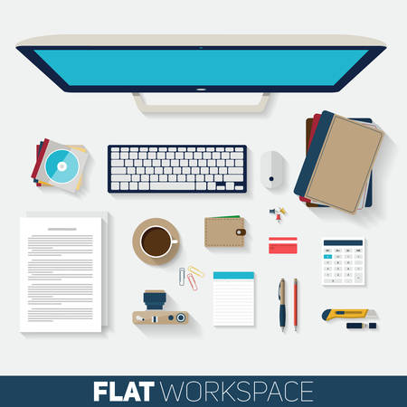 computer office: Flat design vector illustration of office workspace. Top view of desk background with computer, office objects, notebooks and documents with long shadows