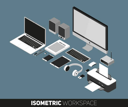 notebook design: Flat design vector illustration of office workspace. Top view of desk background with laptop, office objects, notebook and documents with long shadows Illustration