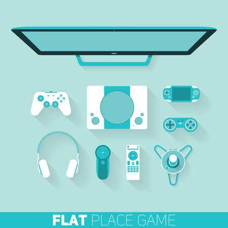 player controls: Flat design vector illustration of game devices with long shadow