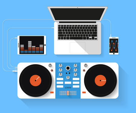 dj music: Flat design vector illustration of dj workspace. Top view of desk background with laptop, mixer, tablet pc and smartphone Illustration
