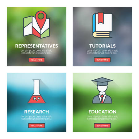 representatives: Set of flat design concepts. Representatives, tutorials, research, education. Vector illustration with blurred background