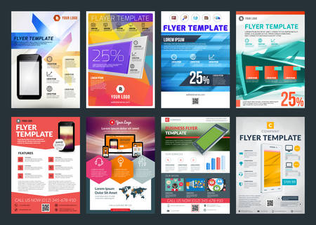 一連の抽象的なベクトル ビジネス チラシ パンフレット デザイン テンプレート