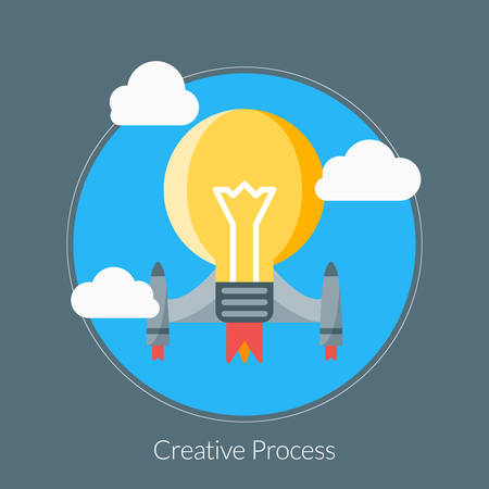 Flat design concept for Creative Process. Vector illustration for web banners and promotional materials Illustration