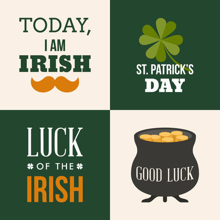 Vecor set of St. Patricks Day illustrations and design elements. Text is outlined