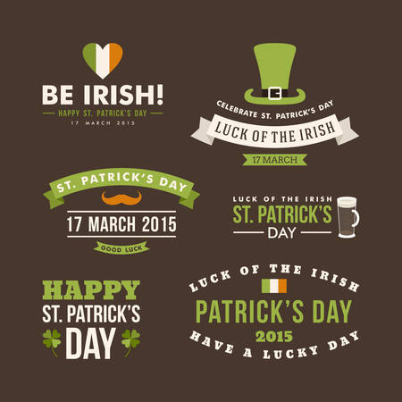 Vector set of St. Patricks Day typographic design elements. Text is outlined Illustration