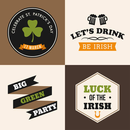 leafed: Vector set of St. Patricks Day typographic design elements. Text is outlined Illustration