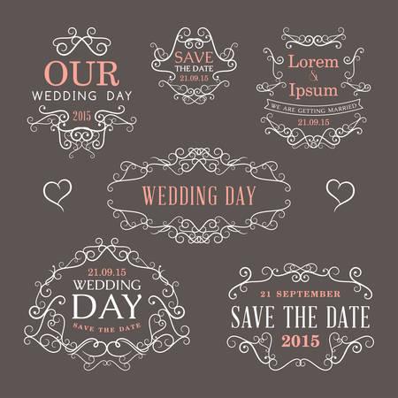 Wedding set of label, badges, stamp and design elements Vector
